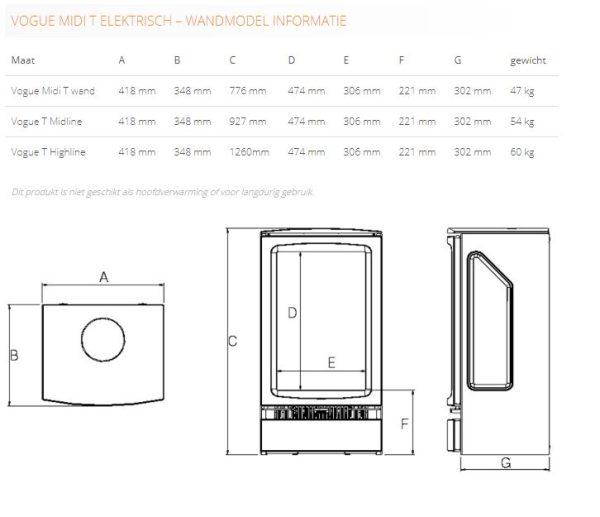 Gazco Vogue Midi T Wandmodel elektrisch
